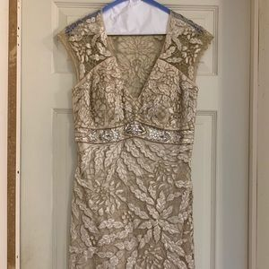 Sue Wong Gold cocktail dress